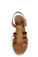 O'Neill Sequoia Cognac Striped Platform Wedge Sandals