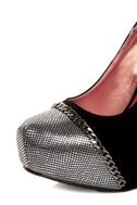 Promise Marino Black Metallic Cap-Toe Platform Pumps