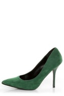 Promise Crescent Hunter Green Suede Pointed Pumps