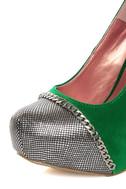 Promise Marino Green Metallic Cap-Toe Platform Pumps