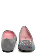 Promise Neon Grey Rhinestone Studded Ballet Flats