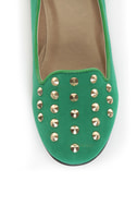 Promise Zadina Green Suede Studded Smoking Slipper Flats