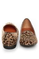 Promise Zadina Leopard Pony Fur Studded Smoking Slipper Flats