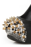 Privileged Lux Black Spiked Cap-Toe Platform Heels