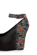 Privileged Mistique Black and Floral Peep Toe Wedges