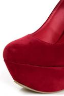 Privileged Monster Red Ankle Strap Heelless Platforms