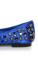 Privileged Sage Royal Blue Satin Studded Smoking Slipper Flats