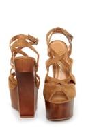 Privileged Sherman Tan Strappy Heelless Platforms