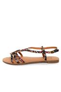 Qupid Athena 472A Black Fabric Tribal Print Strappy Flat Sandals