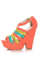 Qupid Burke 17 Coral Suede Multi Strappy Wedge Sandals