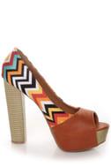 Qupid Enclose 45 Orange Print Color Block Platform Heels