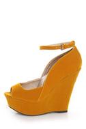 Qupid Finder 69 Mustard Velvet Sculpted Peep Toe Platform Wedges