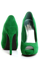 Qupid Heigl 01 Green Velvet Peep Toe Pumps