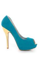 Qupid Heigl 82 Turquoise Velvet & Gold Peep Toe Pumps