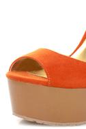 Qupid Luke 02 Orange Velvet Architectural Cutout Platform Wedges