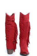 Qupid Mariska 15 Red Oil Finish Suede Fringe Cowboy Boots