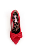 Qupid Marlene 05 Red Fabric Pointed Pumps