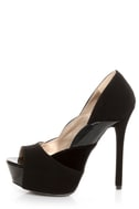 Qupid Miriam 61 Black Texture Time Scalloped Peep Toe Pumps