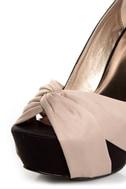 Qupid Miriam 70 Black Matte Satin Knotty Bow Platform Pumps