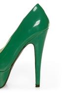 Qupid Penelope 01 Green Patent Platform Pumps