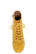 Qupid Puffin 06 Mustard Yellow Lace-Up Booties