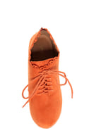 Qupid Puffin 34 Orange Suede Lace-Up Ankle Booties