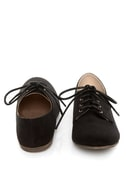 Qupid Salya 585 Black Suede Lace-Up Oxfords