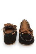 Qupid Serina 720 Black Suede Moccasin-Meets-Boat Shoe Flats