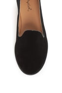 Qupid Strip 27 Black Velvet Loafer Flats