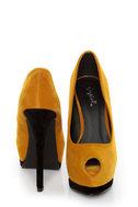 Qupid Tatum 44 Mustard Keyhole Peep Toe Platform Pumps