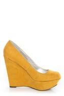Qupid Worthy 01X Mustard Yellow Suede Platform Wedges