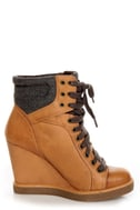 Report Daysha Sand Tan Lace-Up Hiking Wedge Sneakers