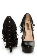 Report Signature Targee Black Fringe Platform Pumps