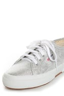 Superga 2750 Lamew Silver Lam� Lace-Up Sneakers