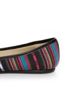 Soda Scout Black Multi Stripe Guatemala Print Ballet Flats