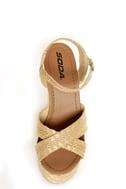 Soda Sneak Natural Raffia Basket Weave Wedge Sandals