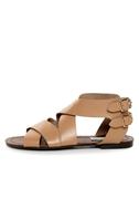 Steve Madden Achilees Natural Leather Flat Gladiator Sandals