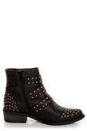 Shoe Republic LA Arly Black Ostrich Studded Ankle Boots