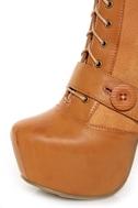 Shoe Republic LA Fiorina Mocha Belted Lace-Up Platform Boots