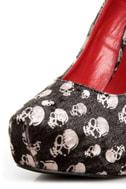 Shoe Republic LA Ghost Black Velvet Skull Print Pumps