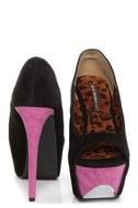 Shoe Republic LA Hoots Black and Pink Mega Platform Heels