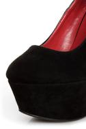 Shoe Republic LA Lynn Black Ankle Strap Mega Platform Wedges