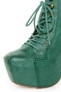 Shoe Republic LA Step Green Lace-Up Platform Ankle Boots