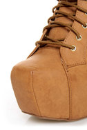 Shoe Republic LA Terza Tan Spiked and Studded Lace-Up Booties