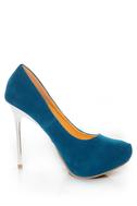 Shoe Republic LA Melody Teal Silver Stiletto Pumps