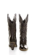 Very Volatile Boulder Brown Embroidered Leather Cowboy Boots
