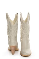 Very Volatile Denver Off White Embroidered Cowboy Boots