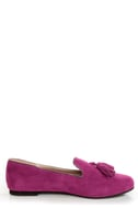 Yoki Frida Raspberry Fuchsia Tassel Smoking Slipper Flats
