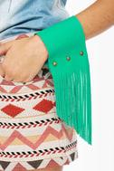 Amy Waltz Cuff Me Up Teal Fringe Leather Cuff