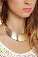 Round She Goes Gold Collar Necklace